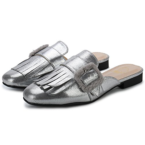 Image of Alexis Leroy Women's Backless Fashion Comfort Casual Mules Slip On Loafers Tassels Low Heeled Flat Slides Sandals Silver 40 M EU/9-9.5 B(M) US