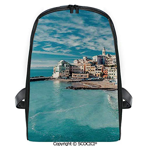 SCOCICI Primary School Student Book Bag Panorama of Old Italian Fish Village Beach Old Province Coastal Charm Image for Girls/Boys Back To School Gift