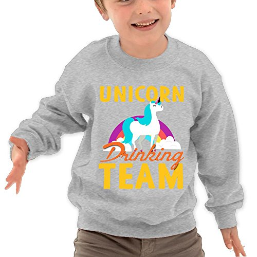 Puppylol Unicorn Drinking Team Kids Classic Crew-Neck Pullover Hoodie Ash 5-6 Toddler
