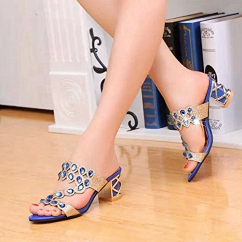 Mariage de Ouvert Sandales Forme Strass Dérapant JITIAN Anti Talons Chaussures Plate Femmes Paillettes Bleu Orteil qwPpXTvS