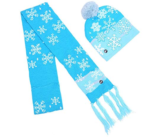 LED Light Up Christmas Colorful Beanie Knit Pom Hat & Scarf with Tassel - 3 Flashing Modes (Snowman Hat+Scarf)