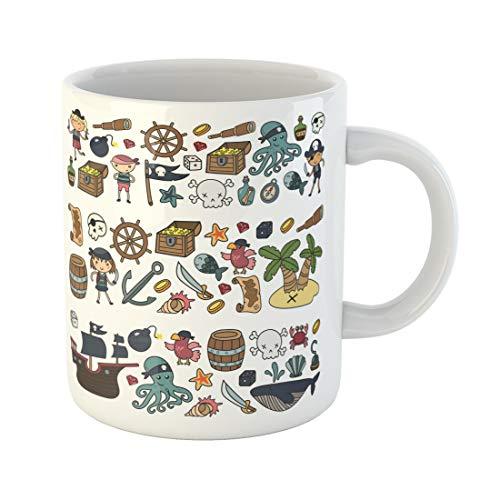 Emvency Funny Coffee Mug Children Playing Pirates Boys and Girls Kindergarten School Preschool Halloween 11 Oz Ceramic Coffee Mug Tea Cup Best Gift Or Souvenir -