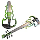 Hand Made Dragon Head Neck Green Color 5 String Electric Violin 4/4