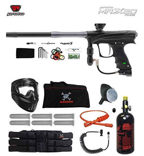 Proto Rize MaXXed Corporal HPA Paintball Gun Package - Black/Grey (Rail Proto Trigger)