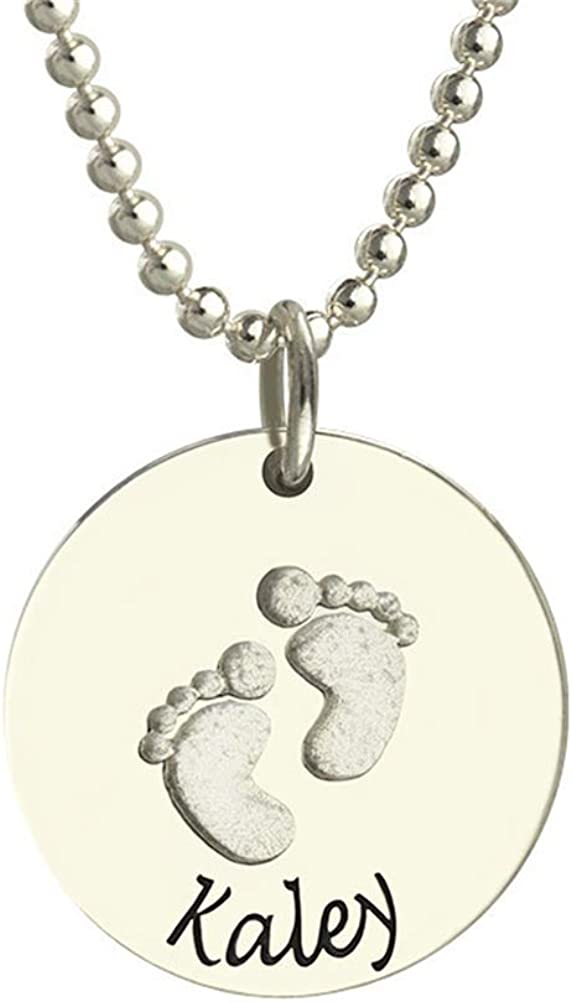 FACOCO Personalized Name Custom Baby Footprints Necklace Fashion Elegant Custom Necklace