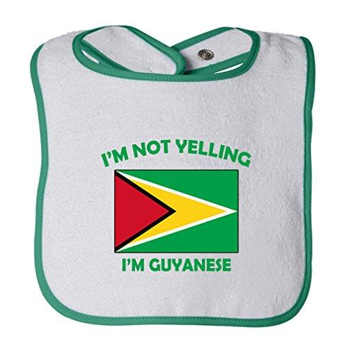 (Cute Rascals I'M Not Yelling I Am Guyanese Guyana Tot Contrast Trim Terry Bib White/Green)
