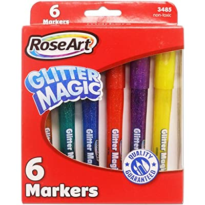 RoseArt Glitter Magic Markers 6-Count Assorted Colors Packaging May Vary (CYB78): Office Products
