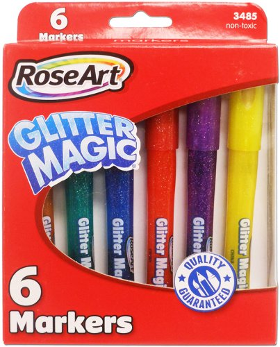 RoseArt Glitter Magic Markers 6-Count Assorted Colors Packaging May Vary (CYB78)