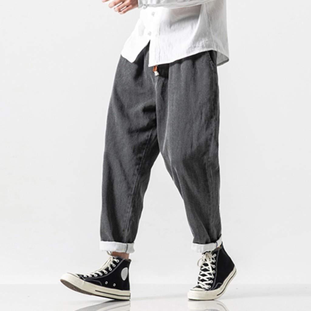 ABCone Pantaloni Uomo Jeans Elasticizzati Pantalone Cargo Uomo con Elastico Tinta Unita Pantalone Uomo Palestra Cotone Pantaloni da Spiaggia Uomo Lino Pantaloni Casual Leggero Uomo