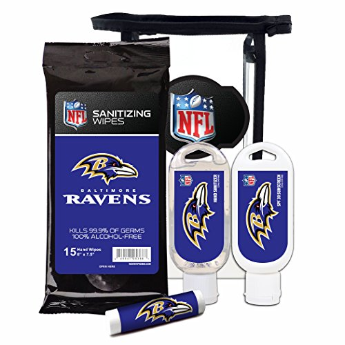 Worthy Promotional NFL Baltimore Ravens 4-Piece Premium Gift Set with SPF 15 Lip Balm, Sanitizer, Wipes, Sunscreen