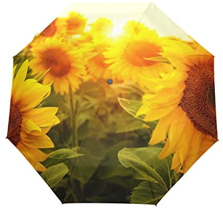 Unbreakable Girl In Sunflower Field Compact Travel Umbrella Windproof Auto Open and Close for Men and Women