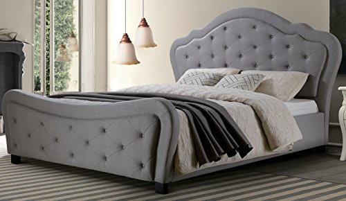 (Best Quality Furniture Cal King Bed, California King, Gray )
