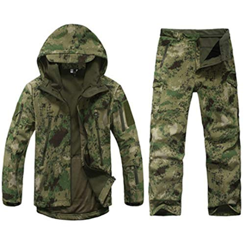 FieldShuFu Tactical Softshell Camouflage Jacket Set Men Army Windbreaker Waterproof Hunting Clothes Set Military Jacket Pants Ruin Green ()