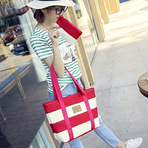 Carte Main Sasairy de à Sac avec Femme Pochette Sac pour Monnaie Shopping Vacances d'Epaules Rouge Rose une Canevas en w4417SAq