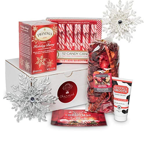 Christmas Gift Basket for Women: Ornaments, Tea, Candy Cane, Hand Cream, Potpourri Set for Her by Charmed Crates (Image #6)