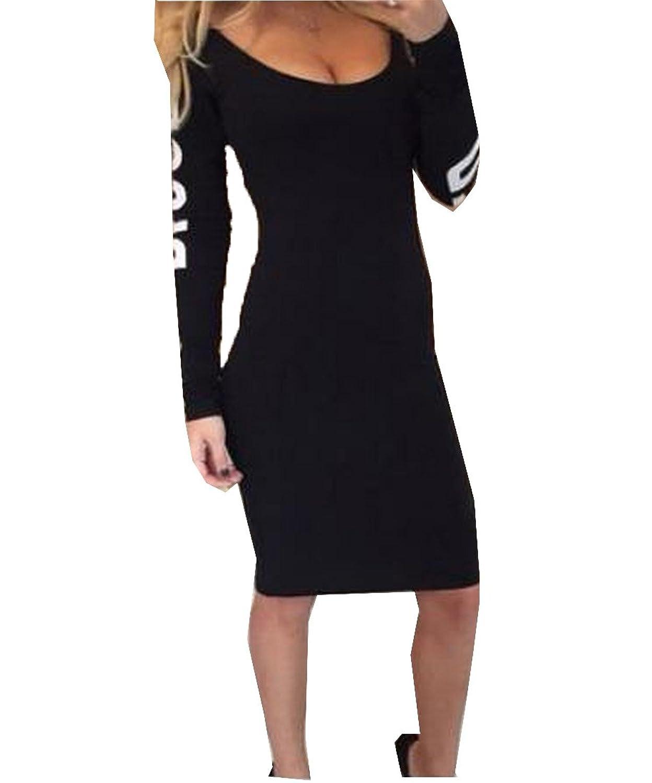 Abetteric Women's Chic Hollow Out Round Neck Bodycon Slim Mini Dress