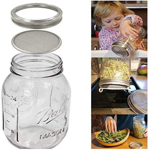 Wide Mouth Mason Sprout Jar Lids Kit for Growing Sprout,Broccoli Alfalfa Beans UgyDuky 4 Pack Stainless Steel Sprouting Jar Lid with 2 Pack Foldable Stainless Steel Stands