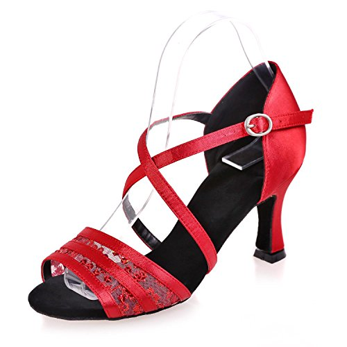 L@YC Female Latin Dance Shoes Flash Chiffon Indoor Buckle Splicing Multi-Color Large Size Can Be Customized # Red 0a8rC9iH