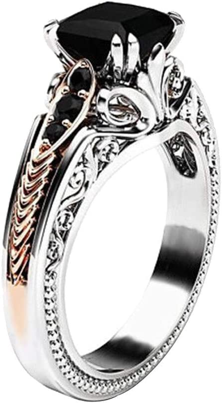 10 Black Square Gemstone Diamond Rings for Women Girls Size 6-10 Wedding Engagement Anniversary Jewelry Gift Under 5 Dollars