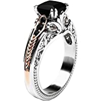 Flower Engagement Rings, Haluoo New Women Gen Stone Black Onyx Ring Simulate Birthstones Promise Ring Charm Wedding Ring…