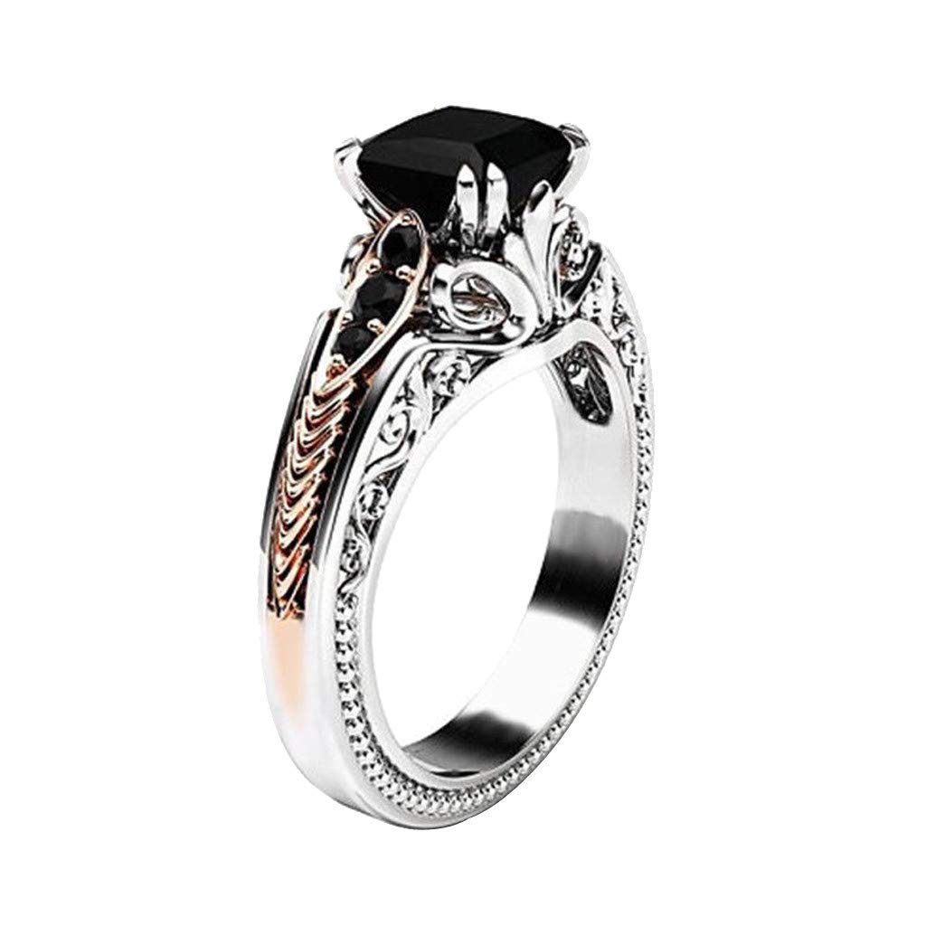 Toponly Engagement Ring Fashion Women Copper Rings Black Gemstone Jewelry Wedding Rings Size 6-10