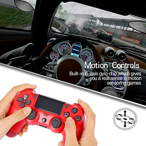 Railay Wireless Gamepad for Ps4/Pro/Slim Control Joystick for Playstation 4 (Red)