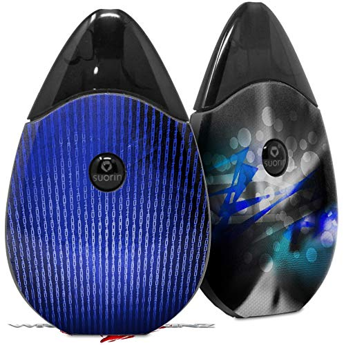 (Skin Decal Wrap 2 Pack Compatible with Suorin Drop Binary Rain Blue Vape NOT Included)