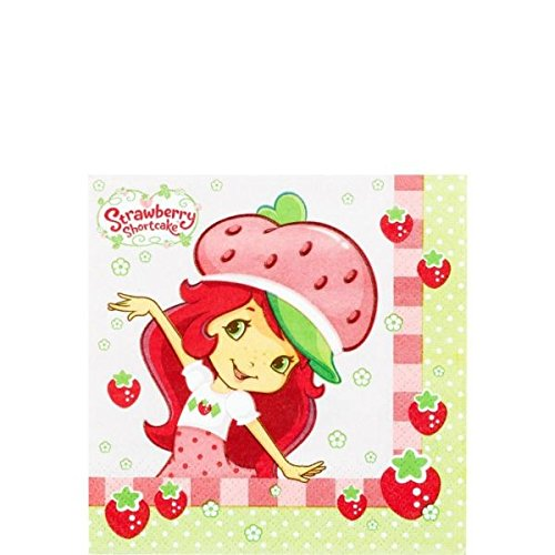 Amscan Pretty Strawberry Shortcake Birthday Party Beverage Napkins Tableware  (16 Pack), 5.5