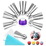 Russian Piping Tips Icing Tips Cake Decorating Set 20pcs Included 7 Russian Ball Tips Sphere Ball Tips + 10 Disposable Bags + 1 Coupler + 2 Reusable Silicone Pastry Bag