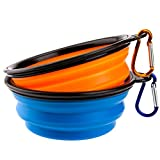 Dog bowl, Jekeno Travel Collapsible Silicone Bowls for Dog Pets Cat,Portable Foldable FDA Approved Food Water Feeding Bowl with Carabiner,Set of 2(Blue,Orange)