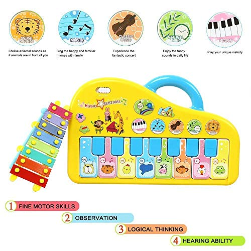 AresKo Baby Musical Toys, Piano Music Keyboard Toys for Infants, Toddler Piano Toys with Hand Knock Xylophone-Perfect Christmas Birthday Gift for Kids ()