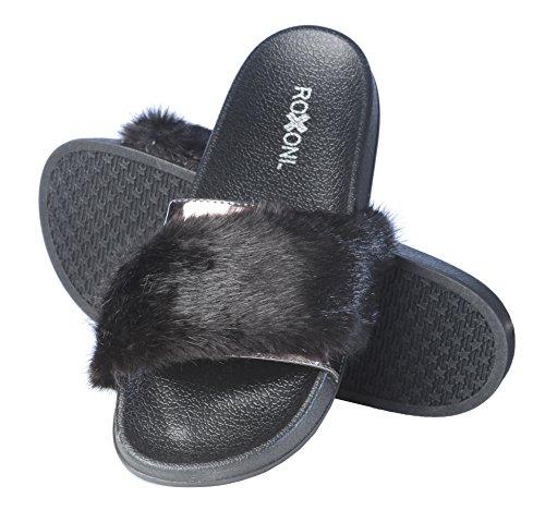 Roxoni Women's Summer Faux Fur and Metallic Open Toe Slide Sandal Slippers by Roxoni (Image #4)