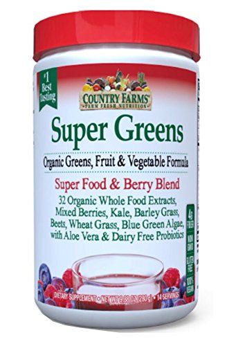 Country Farms Super Green Drink Powder, Berry Flavor, 9.88 Oz Each (Pack of 6) by Country Farms