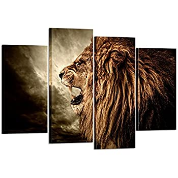 Kreative Arts   4 Panel Wall Art Lion Painting Print On Canvas Animal  Pictures For Home Decor Decoration Gift Piece Stretched By Wooden Frame  Ready To Hang