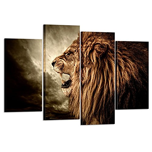 (Kreative Arts - 4 Panel Wall Art Lion Painting Print On Canvas Animal Pictures for Home Decor Decoration Gift Piece Stretched by Wooden Frame Ready to Hang )