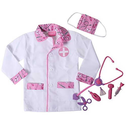 Storybook Wishes Lil' Doctor Medical Toy Play Set & Costume Dress Up (4/6, Pink/Lavender)]()