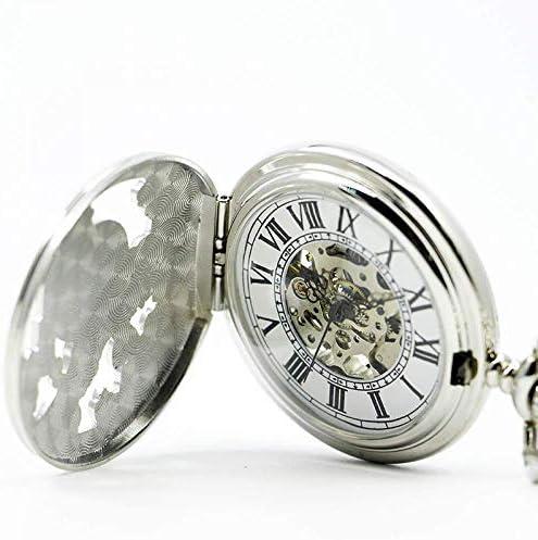 YXZQ懐中時計、ユニークなローマの機械式アンティークイーグル刻印スチームパンクネックレスフォブユニセックスメンズヴィンテージペンダント時計