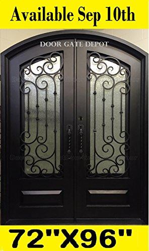 FRONT WROUGHT IRON DOORS DARK BRONZE TEMPERED GLASS 72''x 96'' DGD1019ABP ()