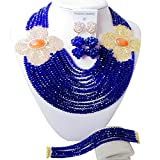 aczuv African Fashion Beads Jewelry Set Necklace Nigerian Wedding Bridal Party Jewelry Sets