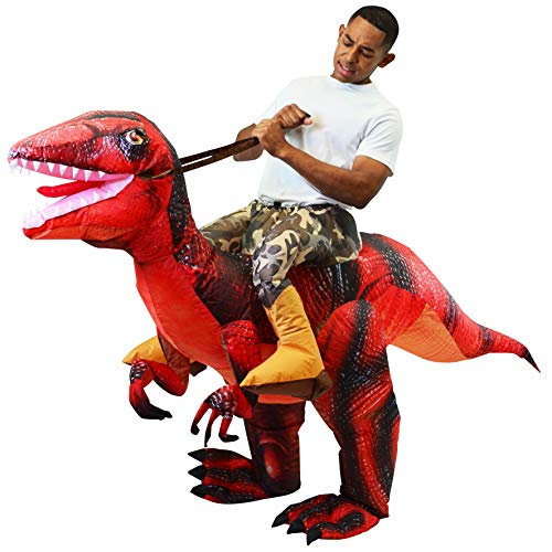Spooktacular Creations Inflatable Raptor Riding a Raptor Dinosaur Deluxe Costume - Adult