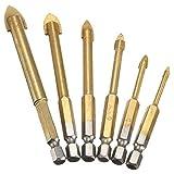 NUZAMAS Set of 6 Titanium Coated Glass Drill Bits