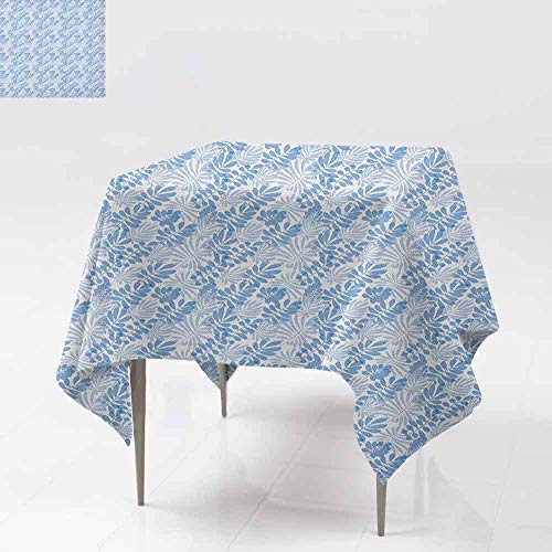 (Oil-Proof and Leak-Proof Tablecloth Tender Tropical Design in Blue Shades Exotic Hawaiian Summer Leaves Party W50 xL50 Pale Blue and White)