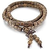 INBLUE Men,Women's 6mm Wood Bracelet Link Wrist Necklace Tibetan Buddhist Brown Bead Prayer Buddha Mala Chinese knot Elastic