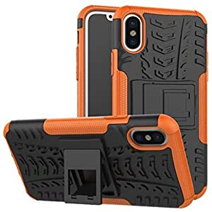iPhone X Case, DMX Armor cases Tough Rugged Shockproof Dual Layer Hybrid Hard/Soft Slim Protective Stent function Case For iPhoneX (Orange)