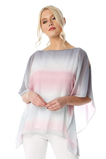 2550df4cd2e6b Roman Originals Women Ombre Split Sleeve Overlay Top - Ladies Smart Casual  Flattering Tops Light Long Blouse for Summer Holiday Evening Special  Occasions ...