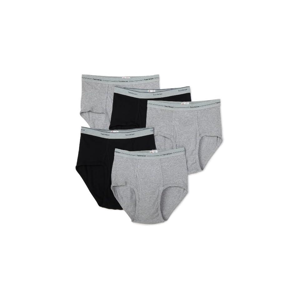 Fruit of the Loom Mens 5 Pack Wardrobe Briefs,Black/Grey,2XLarge