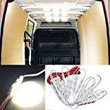 Ampper 12V 60 LEDs Van Interior Light Kits, Ceiling Lights Kit for Van RV Boats Caravans Trailers Lorries Sprinter Ducato Transit VW LWB (20 Modules, White)