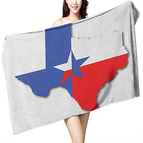 homecoco Printed Bath Towel Texas Star Outline of The Texas Map American Southwest Austin Houston City W28 xL55 Suitable for bathrooms, Beaches, -