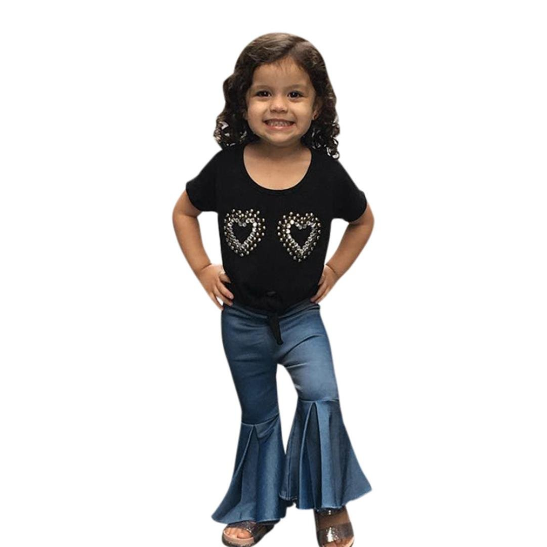 FAPIZI Clearance 2Pcs Toddler Baby Kids Girls Heart Print Short Sleeve Tops Bell-Bottoms Pants Sets Outfits 0-5T