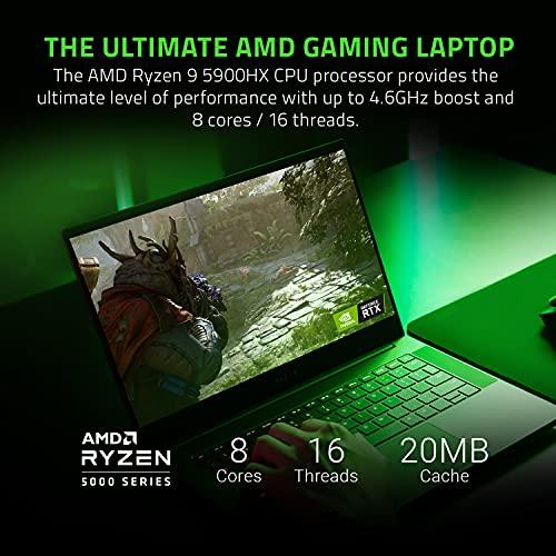 Laptop para juegos Razer Blade 14: AMD Ryzen 9 5900HX de 8 núcleos, NVIDIA GeForce RTX 3080, 14 QHD 165Hz, 16GB RAM, SSD de 1TB - Aluminio CNC - Chroma RGB - THX Spatial Audio - Refrigeración por cámara de vapor